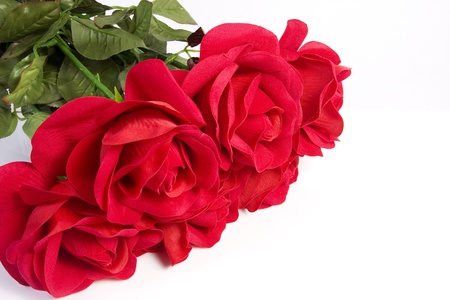 bunch of red roses: Fabric rose bouquet on isolated white
