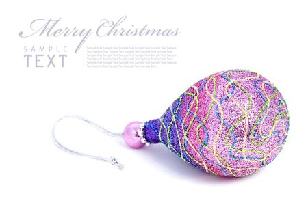 Isolated shiny pink Christmas ball with copy space