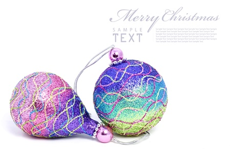 Isolated shiny pink Christmas ball with copy space photo