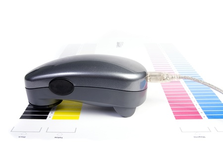Colour Management - Spectrophotometer and calibration chart Stock Photo - 9550131
