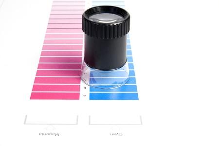 Colour Management - Loupe and calibration chart Stock Photo - 9550007
