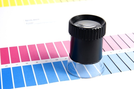 Colour Management - Loupe and calibration chart Stock Photo - 9550197