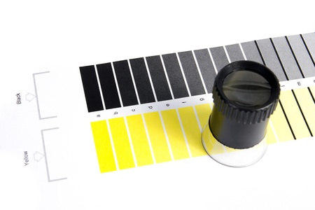 Colour Management - Loupe and calibration chart Stock Photo - 9550195