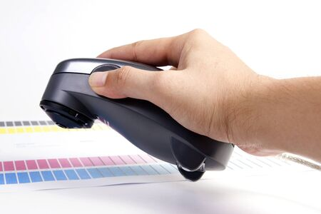 calibration: Colour Management - Spectrophotometer and calibration chart Stock Photo