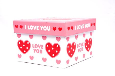 White i love you gift box in isolated photo