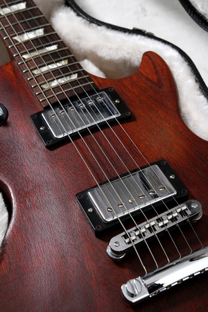 An old style electro acoustic guitar Stock Photo