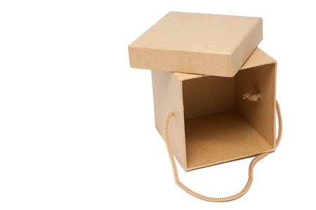 Craft present paper box on isolated white Stock Photo - 9549981