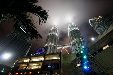 KUALA LUMPUR, MALAYSIA-DECEMBER 30, 2010 : Night views of Landmark on December 30,2010 Petronas Twins Towers, Kuala Lumpur, Malaysia. Detail view of Petronas Towers