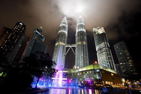 Kuala lumper, Malasia-December 30, 2010 : Night views of Landmark on December 30,2010 Petronas Twins Towers, Kuala Lumpur, Malaysia. Detail view of Petronas Towers Stock Photo - 9577024