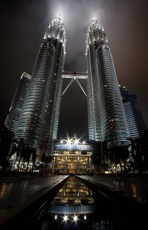 Kuala lumper, Malasia-December 30, 2010 : Night views of Landmark on December 30,2010 Petronas Twins Towers, Kuala Lumpur, Malaysia. Detail view of Petronas Towers Stock Photo - 9577022