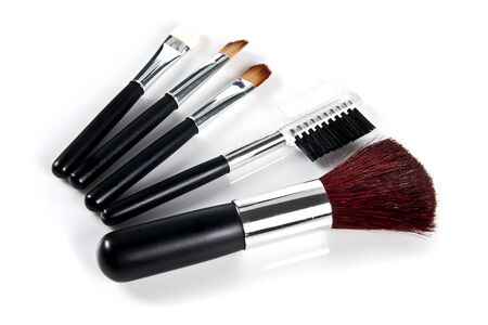 Cosmetic Brushes on white background Stock Photo - 10020191