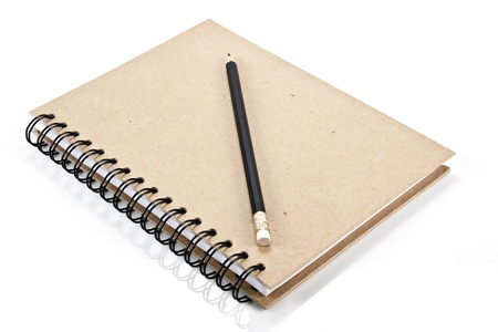 hard cover: Hard cover notebook and pencil Stock Photo