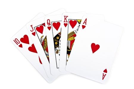 cartas de poker: Escalera real de coraz�n rojo en aislados