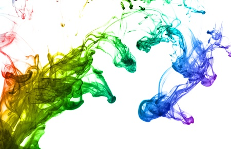 ink in water: Multi color ink isolated dissolving in water Stock Photo