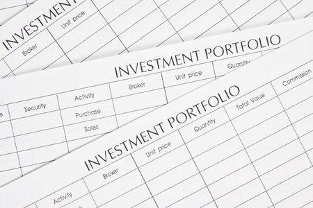 future earnings: Close up stack of investment Spreadsheets Stock Photo