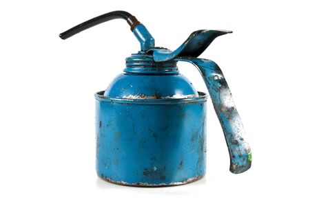oil can: Modern blue oil can dirty from use Stock Photo