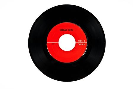 Old vinyl audio equipment on white background photo
