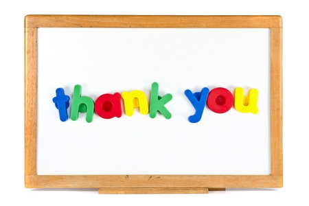 Thank you text message on whiteboard, isolated on white background photo