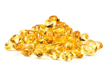Close up of fish oil gel capsules.