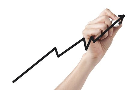 Businesswoman drawing line graph on screen-Arm