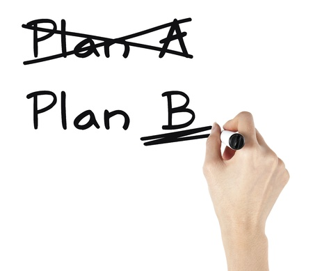 Business plan strategy changing. Woman hand crossing over Plan A, writing Plan B. businesswoman sketching on virtual screen. Isolated on white background.