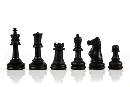 Stack of chess piece on white background