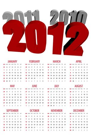 mon 12: This is a calendar for 2012 on a white background. Starts sunday