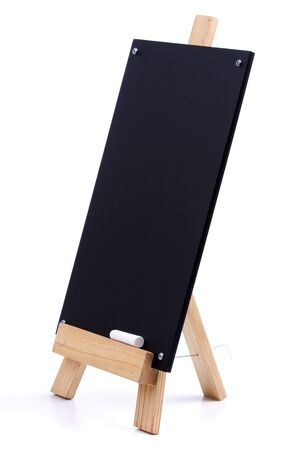 A chalk menu board with wood frame photo