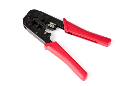 RJ45 ethernet connector crimping tool over white background Stock Photo - 12341725