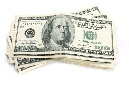 Close up of stack of  100 bills Stock Photo - 13207331