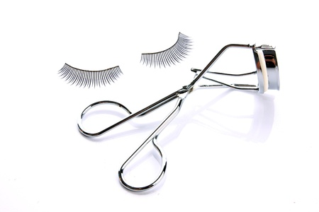 fashion fake false eyelash with curler isolated on white background Stock Photo - 13553977