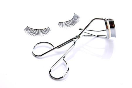 fashion fake false eyelash with curler isolated on white background Stock Photo - 13553977