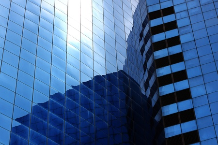 square side of pane in business center  photo