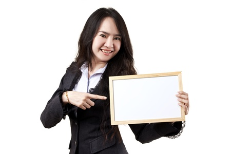 Business woman holding a blank white board on white background Stock Photo - 14901271