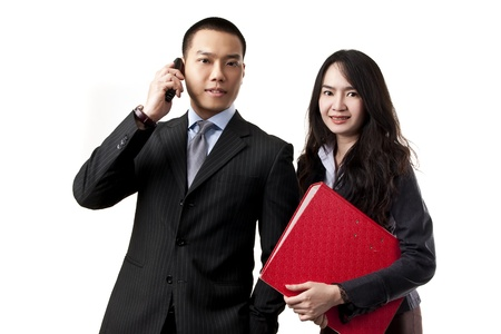 Business people talking at telephone and women on a white background. Stock Photo - 15099373