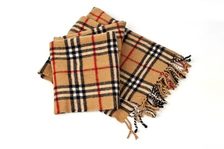 checkered scarf: Unisex wool brown plaid scarf isolated on white background
