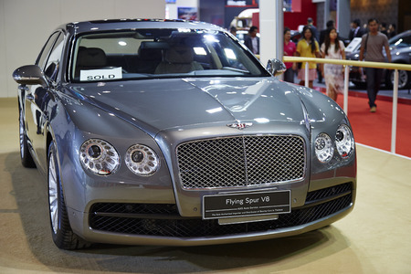v8: BANGKOK - MARCH 29: Bentley Flying Spur V8 car on display at The 36 th Bangkok International Motor Show on March 29, 2015 in Bangkok, Thailand.
