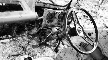 dumped: Broken old car Stock Photo