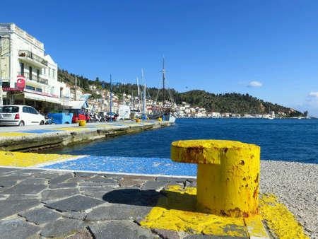 greece shoreline: A beautiful sunny day in a greece islands harbor Stock Photo