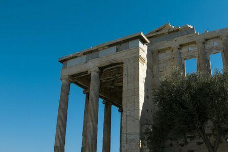 acropolis: Side view of acropolis temple, greece