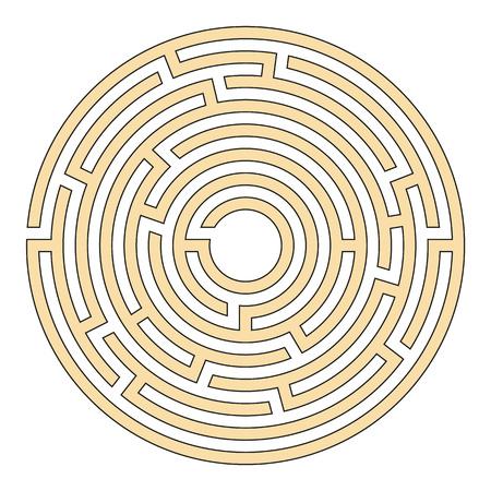 Elegant illustration of a circular maze for clever people Иллюстрация