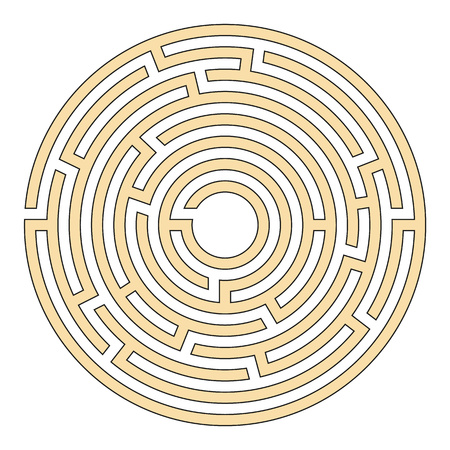 Elegant illustration of a circular maze for clever people Vettoriali