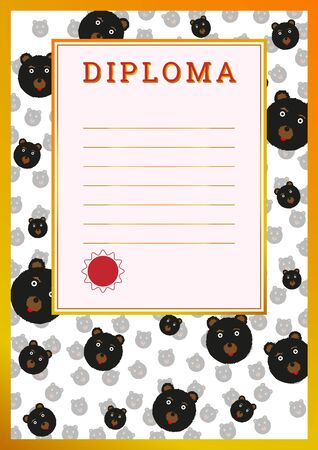 awarded: Diploma to be awarded students. Vector illustration of A-4 format