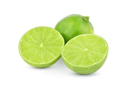 Whole and half of lime fruit isolated on white background.