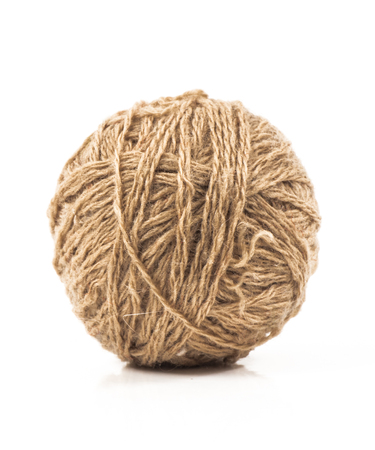 wool ball: image of brown wool ball isolated close up