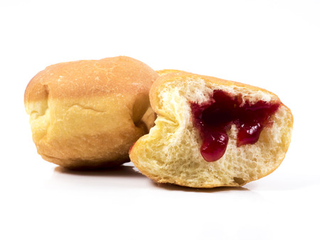 choux bun: Image of donuts isolated macro, food.