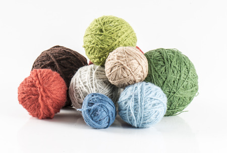 skein: image of skein of wool yarn isolated close up. Stock Photo
