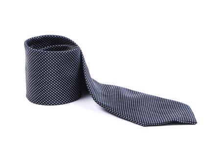 silk tie: Image of black tie isolated close up. Stock Photo