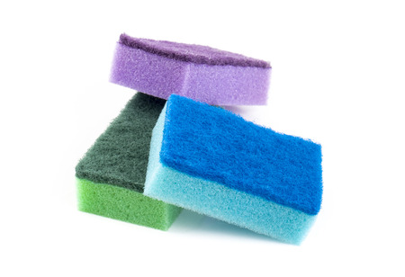 bright housekeeping: Image of colored sponges isolated close up. Stock Photo