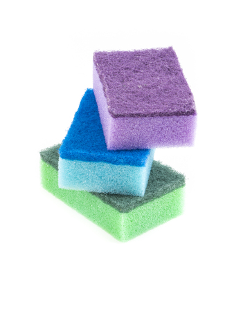 Image of colored sponges isolated close up. photo